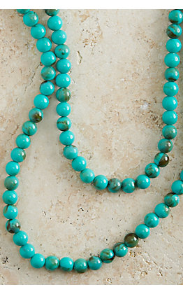 Turquoise Beaded Extra Long Necklace