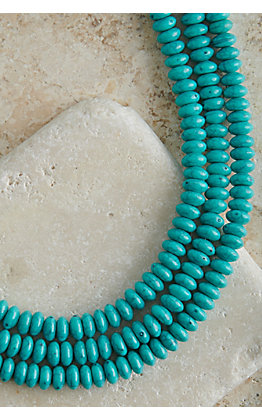 Turquoise Beaded 3 Strand Necklace