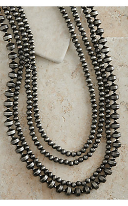 Silver Navajo Pearls Multi Beaded 4 Strand Long Necklace
