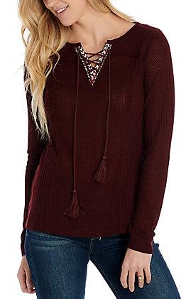 Hem & Thread Maroon Long Sleeve Fashion Top