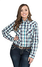 Wired Heart Women's Red and Blue Plaid Long Sleeve Western Snap Shirt