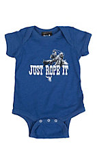 Cowboy Hardware Infant's Royal with Just Rope It Screen Print Short Sleeve Onsie