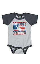 Cowboy Hardware Infant's Grey with Cowboy Nation Screen Print Short Sleeve Onsie