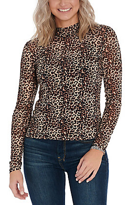 Hem & Thread Women's Mesh Leopard Print Fashion Top