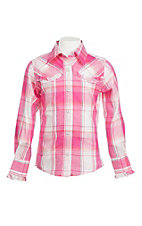 Lore Mae Girl's Pink and Orange Plaid wtih Ruffled Yokes Western Snap Shirt