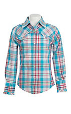 Lore Mae Girl's Turquoise & Pink Plaid with Ruffles Long Sleeve Western Shirt