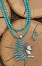 Wired Heart Turquoise Beaded with Indian Head Pendant Jewelry Set
