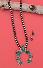Isac Silver Beaded with Turquoise Squash Blossom Pendant Jewelry Set