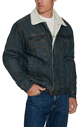 Wrangler Men's Sherpa Lined Dark Stonewash Denim Jacket