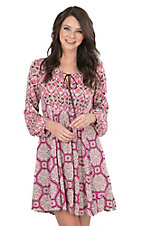 Uncle Frank Women's Fucshia Bandana Print Long Sleeve Dress