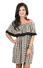 Uncle Frank Women's Taupe and Black Print with Ruffled Top Short Sleeve Dress