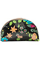 Consuela Black Floral Large Cosmetic Bag