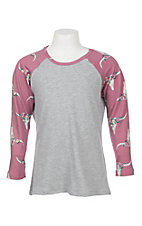 Jody Girls Grey with Mauve Skull Print 3/4 Baseball Sleeves Tee