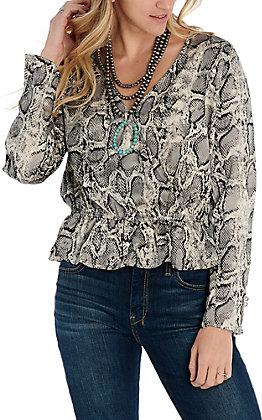 Hem & Thread Women's Grey Snake Print Fashion Top