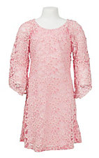 Jody Girl's Pink Lace Bell Sleeve Dress