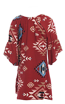 Jody Girls' Burgundy Aztec Print Bell Sleeve Dress