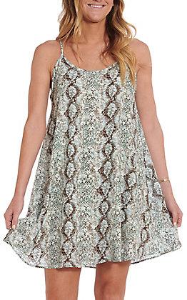 April Sky Women's Mint And Silver Snake Print Dress