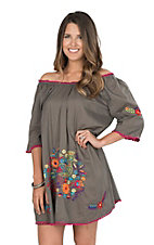 Ivy Jane Women's Grey Dress with Mulit Colored Embroidery