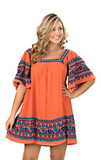 Ivy Jane Women's Orange Dress with Blue Embroidery