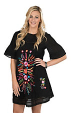 Ivy Jane Women's Black Dress with Mulit Colored Embroidery