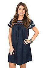Ivy Jane Women's Indigo Dress with Embroidery