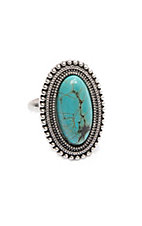 Wired Heart Rounded Oval Turquoise Adjustable Ring