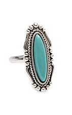 Wired Heart Oval Turquoise Adjustable Ring