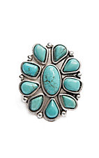 Wired Heart Turquoise and Silver Rounded Flower Adjustable Ring
