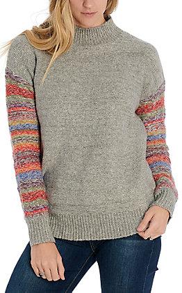 Hem & Thread Women's Grey Color Mixed Sweater