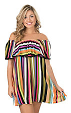 Uncle Frank Women's Multi Stripe Peasant Dress