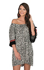 Uncle Frank Women's Black and White Print with Fringe Short Sleeve Dress