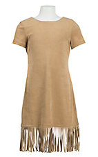 Jody Girl's Carmel Suede with Fringe Cap Sleeve Dress
