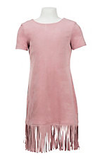 Jody Girl's Pink Suede with Fringe Cap Sleeve Dress