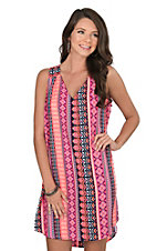 Uncle Frank Women's Pink Aztec Print Dress