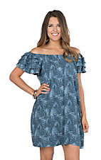 Uncle Frank Women's Blue Palm Leaf Short Ruffled Sleeve Dress