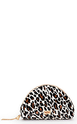 Consuela Mona Tan and Black Leopard Print Large Cosmetic Bag