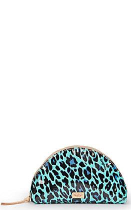Consuela Gem Turquoise Leopard Print Large Cosmetic Bag