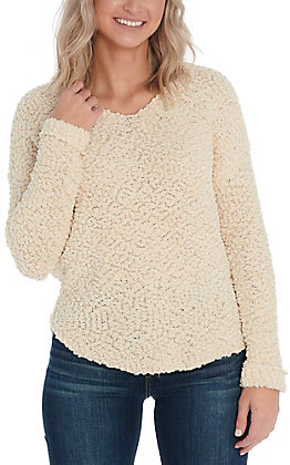 Hem & Thread Women's Cream Popcorn Sweater