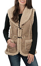 Anne French Women's Tan Faux Sherling Fur Sleeveless Fashion Vest