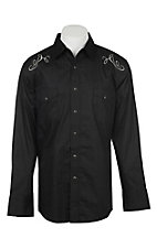 Wrangler Men's Black with Silver Embroidery Long Sleeve Western Shirt