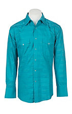 Wrangler Men's Turquoise with Navy Embroidery Long Sleeve Western Shirt