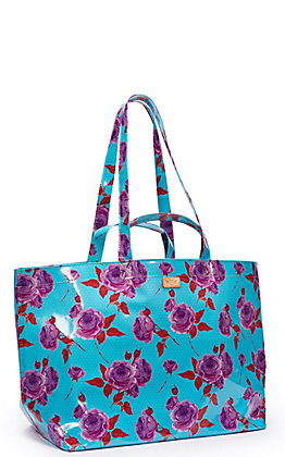 Consuela Mimi Turquoise with Purple Roses Print Jumbo Grab N Go Bag