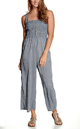 Hem & Thread Women's Navy and White Stripes Smocked Sleeveless Jumpsuit