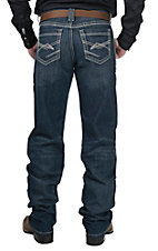 Cinch Grant Men's Medium Wash with Abstract Heavy Stitch Relaxed Boot Cut Jeans