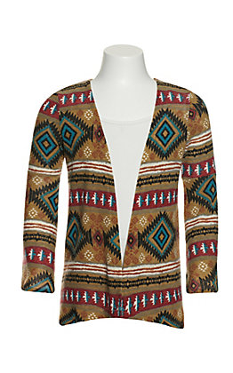 Jody Girls' Cream Aztec Print Long Sleeves Kimono