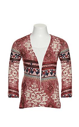Jody Girls Burgundy and Cream Aztec Print Long Sleeve Knit Kimono