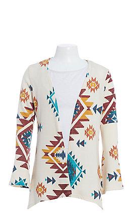 Jody Girls Cream Multi Aztec Print Long Sleeve Knit Kimono