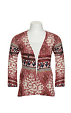 Jody Girls Burgundy and Blue Aztec Print Long Sleeve Knit Kimono