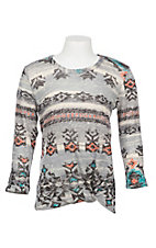 Jody Girls Grey with Black and Neon Aztec Print Knot Front 3/4 Sleeve Shirt