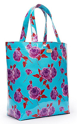 Consuela Mimi Turquoise with Purple Roses Grab N Go Basic Tote